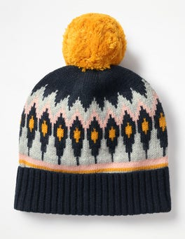 Navy and English Mustard Fair Isle Hat