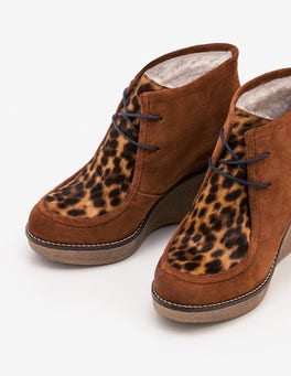 Tan Leopard  Brundall Wedge Boots