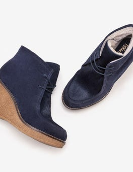 Navy Brundall Wedge Boots