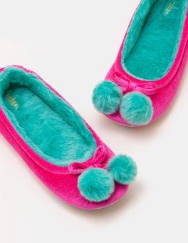Knalliges Stiefmütterchen Pompon-Slipper aus Samt
