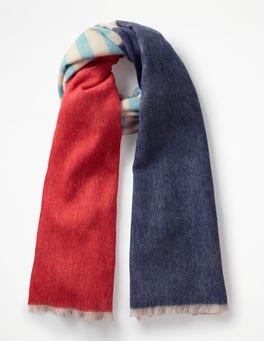 Navy and Post Box Red Colourful Wool Scarf