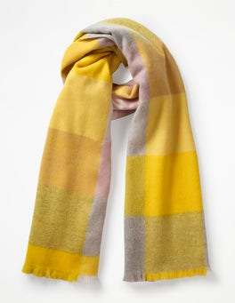English Mustard Check Colourful Wool Scarf
