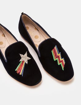 Navy Lucy Embellished Slippers