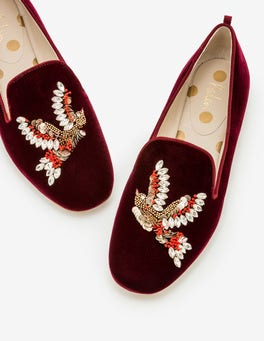 Dark Burgundy Lucy Embellished Slippers