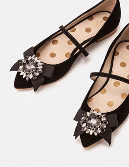 Schwarz Cordelia Flache Schuhe
