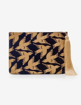 Navy Embroidered Ottilie Clutch