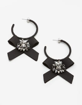 Black Cordelia Hoop Earrings