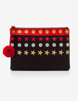 Navy Stars Canvas Pouch