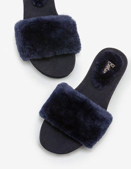 Navy Shearling Slides
