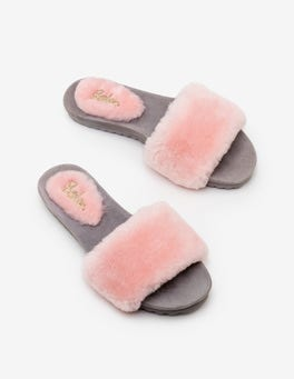 Chalky Pink Shearling Slides