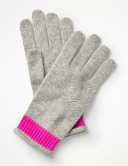 Grey Melange/Pop Pansy Cashmere Gloves