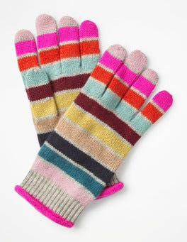 Multi Stripe  Cashmere Gloves