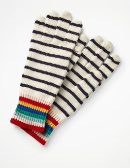 Ivory and Navy Stripe Stripe Detail Gloves