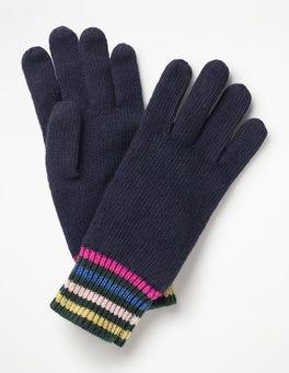 Navy Stripe Detail Gloves
