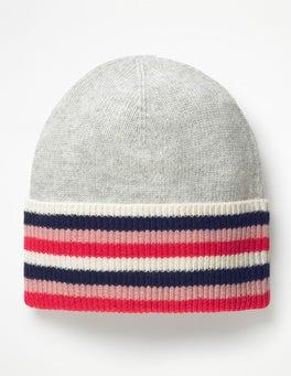 Silver Melange Stripe Detail Hat