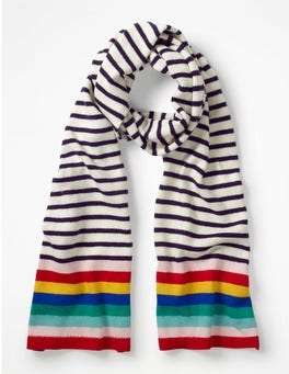 Ivory and Navy Stripe Stripe Detail Scarf