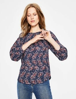 Navy Autumnal Leaves Freya Jersey Top