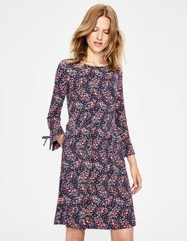 Navy Autumnal Leaves Posie Jersey Dress