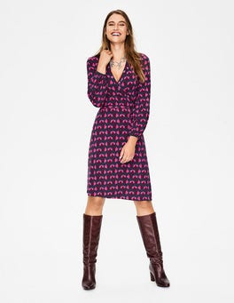 Navy Oak Leaf Elodie Jersey Wrap Dress