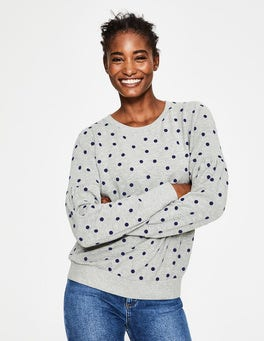 Grey Marl Flocked Spot Renee Sweatshirt