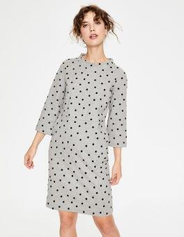 Grey Marl Flocked Spot Livia Sweatshirt Dress