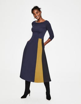 Navy Claudia Ponte Midi Dress