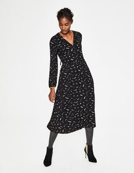 Black Cosmic Flora Jersey Midi Dress