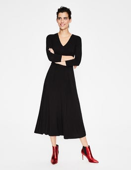 Black Coraline Jersey Midi Dress