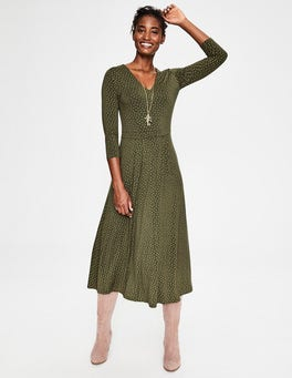 Khaki Metallic Spot Coraline Jersey Midi Dress