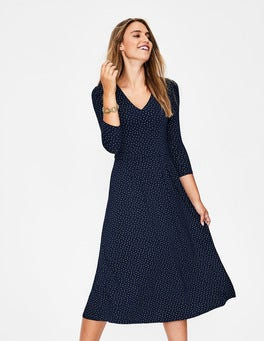 Navy Metallic Spot Coraline Jersey Midi Dress