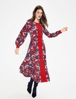 Poinsettia Flourish Mirror Zoe Jersey Midi Dress