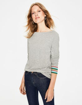 Grey Multi Stripe Striped Cuff Tee