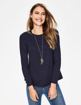 Navy Glitter Spot Sabrina Swing Top