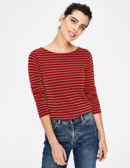 Poinsettia/Gold Sparkle Long Sleeve Sparkle Breton