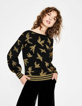 Black/Gold Birds Muriel Jumper