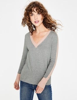 Grey Melange Violet Sweater