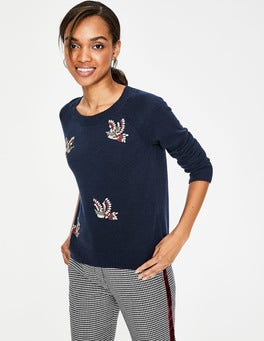 Navy Nell Embellished Jumper