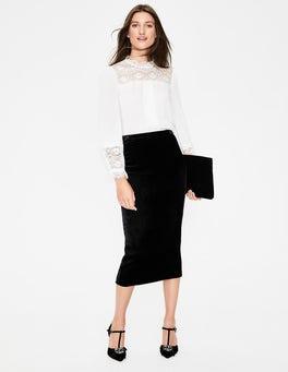 Black Lorna Velvet Pencil Skirt