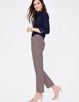 Navy and Post Box Red Check Richmond 7/8 Trousers