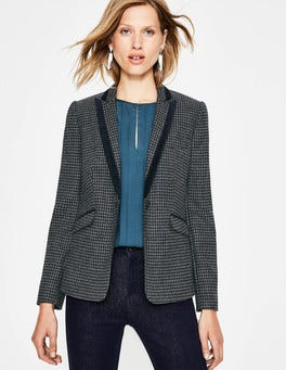 Navy and Grey Houndstooth Elveden Blazer
