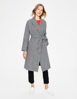 Navy/Ivory Check Lindfield Wrap Coat