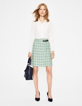 Aquamarine and Navy Windowpane Faye Tweed Kilt