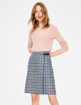 Navy and Cyan Houndstooth Faye Tweed Kilt