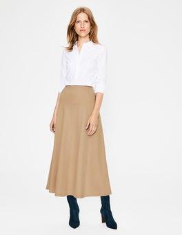 Soft Truffle British Tweed Midi Skirt