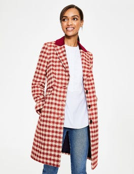 Red Pink Check Eastbourne Coat
