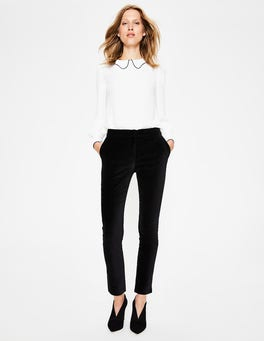 Black Velvet Straight Leg Trousers