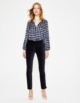 Navy Velvet Straight Leg Pants