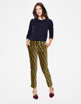 Trumpet Diagonal Birds Velvet Straight Leg Trousers
