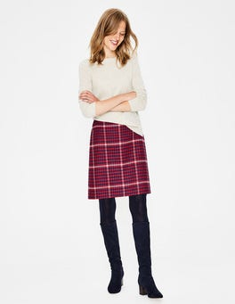 Post Box Red and Navy Check British Tweed Mini Skirt