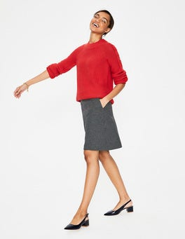 Navy & Grey Marl Puppytooth British Tweed Mini Skirt
